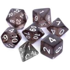 Komplet kości REBEL RPG - Kryształowe - Czarne